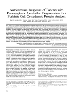 Autoimmune response of patients with paraneoplastic cerebellar degeneration to a Purkinje cell cytoplasmic protein antigen.