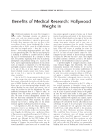 Benefits of medical research  Hollywood weighs in.