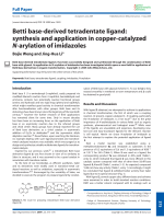 Betti base-derived tetradentate ligand  synthesis and application in copper-catalyzed N-arylation of imidazoles.