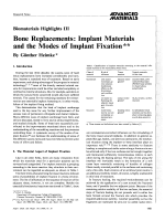 Biomaterials Highlights III. Bone Replacements  Implant Materials and the Modes of Implant Fixation
