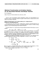 Bncklund Transformation and N-Soliton Solution for the Generalized Nonlinear Schrdinger Equation.
