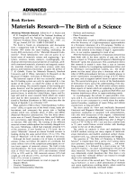 Book Review  Materials ResearchЧThe Birth of a Science  Advancing Materials Research. Edited by P. A. Psaras and H. D. Langford (on behalf of the National Academy of Engineering and the National Academy of Sciences)