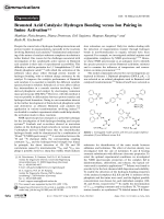 Brinsted Acid Catalysis  Hydrogen Bonding versus Ion Pairing in Imine Activation.