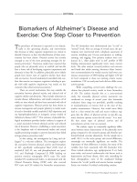 Biomarkers of Alzheimer's disease and exercise  One step closer to prevention.