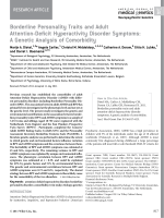 Borderline personality traits and adult attention-deficit hyperactivity disorder symptoms  A genetic analysis of comorbidity.