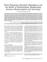 Brain dopamine receptor stimulation and the relief of parkinsonism  Relationship between bromocriptine and levodopa.