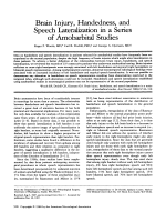 Brain injury  handedness  and speech lateralization in a series of amobarbital studies.
