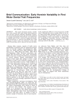 Brief communication  Early hominin variability in first molar dental trait frequencies.