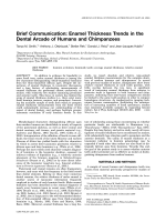 Brief communication  Enamel thickness trends in the dental arcade of humans and chimpanzees.