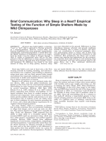 Brief communication  Why sleep in a nest empirical testing of the function of simple shelters made by wild chimpanzees.