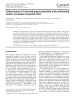 Carbonization of oriented polyacrylonitrile and multiwalled carbon nanotube composite films.