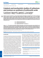 Catalysis and mechanistic studies of ruthenium and osmium on synthesis of anthranilic acids.