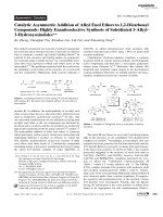 Catalytic Asymmetric Addition of Alkyl Enol Ethers to 1 2-Dicarbonyl Compounds  Highly Enantioselective Synthesis of Substituted 3-Alkyl-3-Hydroxyoxindoles.