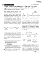 Catalytic Enantioselective Silylation of Acyclic and Cyclic Triols  Application to Total Syntheses of CleroindicinsD  F  and C.
