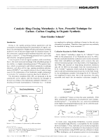 Catalytic Ring-Closing Metathesis  A New  Powerful Technique for CarbonЦCarbon Coupling in Organic Synthesis.