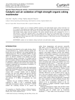 Catalytic wet air oxidation of high-strength organic coking wastewater.