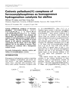 Cationic palladium(II) complexes of ferrocenylphosphines as homogeneous hydrogenation catalysts for olefins.