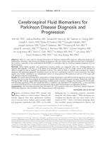 Cerebrospinal fluid biomarkers for Parkinson disease diagnosis and progression.