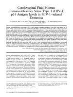 Cerebrospinal fluid human immunodeficiency virus type 1 (HIV-1) p24 antigen levels in HIV-1Цrelated dementia.