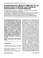Certified reference material (CRM 462) for the quality control of dibutyl- and tributyl-tin determinations in coastal sediment.