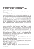 Challenging views on the peopling history of East Asia  The story according to HLA markers.