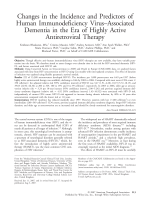 Changes in the incidence and predictors of human immunodeficiency virusЦassociated dementia in the era of highly active antiretroviral therapy.