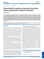 Characteristic reactions of group 9 transition metal compounds in organic synthesis.
