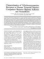 Characterization of 5-hydroxytryptamine receptors in human temporal arteries  Comparison between migraine sufferers and nonsufferers.