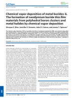 Chemical vapor deposition of metal borides  6. The formation of neodymium boride thin film materials from polyhedral boron clusters and metal halides by chemical vapor deposition