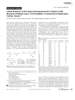 Chiral Brnsted Acid Catalyzed Enantioselective FriedelЦCrafts Reaction of Indoles and -Aryl Enamides  Construction of Quaternary Carbon Atoms.