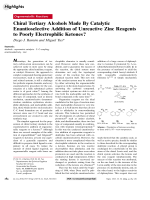 Chiral Tertiary Alcohols Made By Catalytic Enantioselective Addition of Unreactive Zinc Reagents to Poorly Electrophilic Ketones.