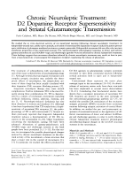 Chronic neuroleptic treatment  D2 dopamine receptor supersensitivity and striatal glutamatergic transmission.