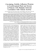 Circulating  soluble adhesion proteins in cerebrospinal fluid and serum of patients with multiple sclerosis  Correlation with clinical activity.