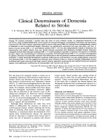 Clinical determinants of dememtia related to stroke.