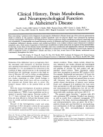 Clinical history  brain metabolism  and neuropsychological function in Alzheimer's disease.