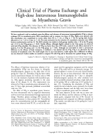 Clinical trial of plasma exchange and high-dose intravenous immunoglobulin in myasthenia gravis.