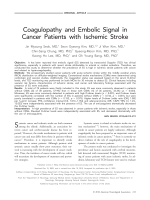 Coagulopathy and embolic signal in cancer patients with ischemic stroke.