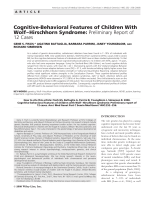 Cognitive-behavioral features of children with WolfЦHirschhorn syndrome  Preliminary report of 12 cases.