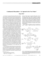 Combinatorial BiosynthesisЦAn Approach in the Near Future.