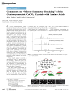 Comments on УMirror Symmetry BreakingФ of the Centrosymmetric CaCO3 Crystals with Amino Acids.
