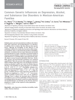 Common genetic influences on depression  alcohol  and substance use disorders in Mexican-American families.