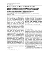 Comparison of three methods for the extraction of arsenic compounds from the NRCC standard reference material DORM-2 and the brown alga Hijiki fuziforme.