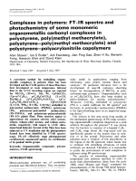 Complexes in polymers  FT-IR spectra and photochemistry of some monomeric organometallic carbonyl complexes in polystyrene  poly(methyl methacrylate)  polystyreneЧpoly(methyl methacrylate) and polystyreneЧpolyacrylonitrile copolymers.