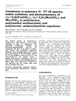 Complexes in polymers II  FT-IR spectra  iodine oxidation  and photochemistry of [(5-C5H)Fe(CO)2]2  [(5-C5H5)Mo(CO)3]2 and Mn2(CO)10 in polystyrene  poly(methyl methacrylate) and polystyreneЦpolyacrylonitrile copolymer.
