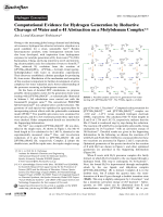 Computational Evidence for Hydrogen Generation by Reductive Cleavage of Water and -H Abstraction on a Molybdenum Complex.