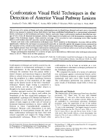Confrontation visual field techniques in the detection of anterior visual pathway lesions.