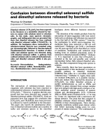 Confusion between dimethyl selenenyl sulfide and dimethyl selenone released by bacteria.