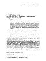 Conservation note  Socioecology and conservation of macaques and langurs in Varanasi  India.