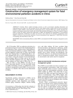 Construction of emergency management system for fatal environmental pollution accidents in China.