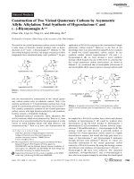 Construction of Two Vicinal Quaternary Carbons by Asymmetric Allylic Alkylation  Total Synthesis of HyperolactoneC and ()-BiyouyanaginA.